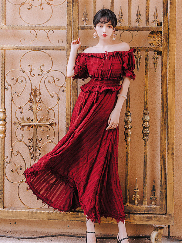 CM-EF062521 Women Retro Style Boat Neck Elastic Waist Stripes Long Dress - Wine Red