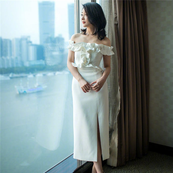 CM-EF062706 Women Elegant European Style Flouncing Boat Neck Split Bodycon Dress - White