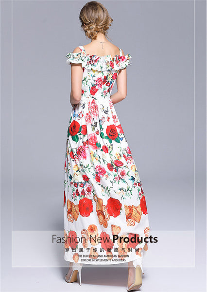 CM-EF061707 Women Charming European Style Boat Neck Floral Printings Long Dress