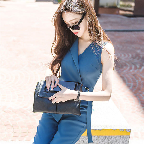 CM-JF070304 Women Casual Seoul Style V-Neck Tie Waist Sleeveless Long Jumpsuit