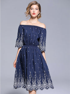 CM-EF071006 Women European Style Boat Neck Elastic Waist Embroidery Dress - Navy Blue