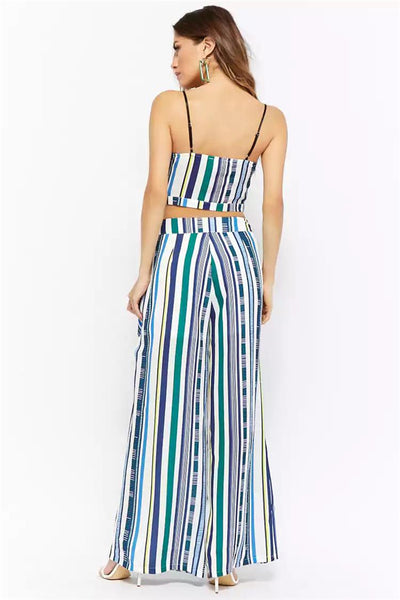 CM-SF071330 Women Casual Spaghetti Straps Stripes Top With Wide-Leg Straps Long Pants - Set