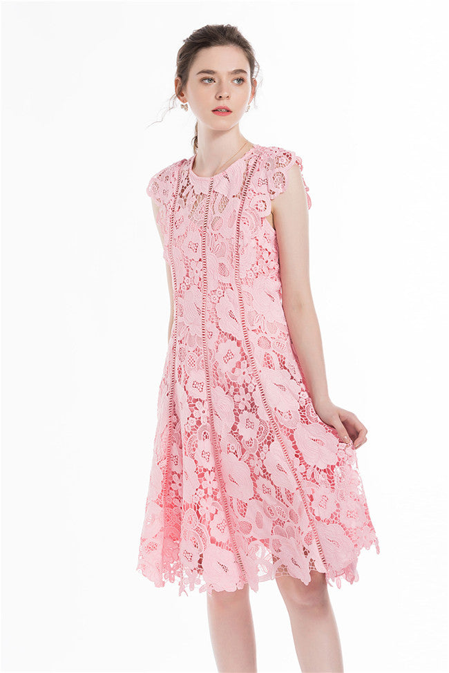 CM-EF072012 Women Elegant Lovely O-Neck Hollow Out Lace Floral Tank Dress - Pink