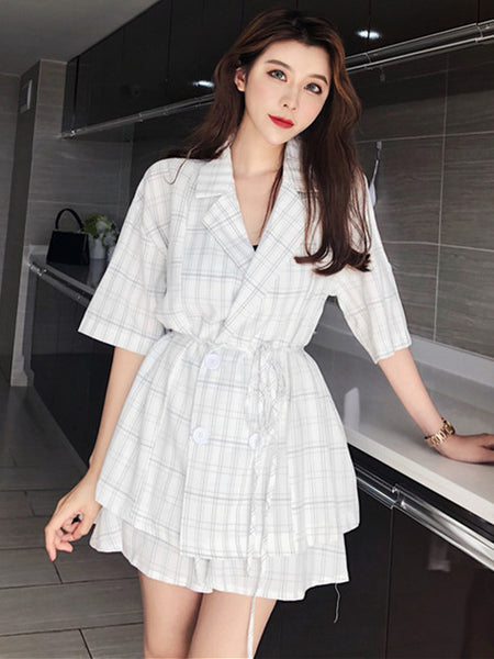 CM-SF072319 Women Casual White Tie Waist Double-Breasted Top With Plaids Short Pants - Set