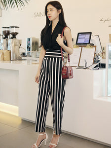 CM-SF072726 Women Casual V-Neck Chiffon Blouse With Stripes Long Pants - Set