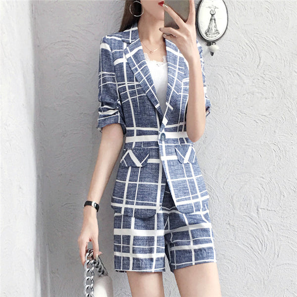 CM-SF072803 Women Casual Summer Tailored Collar Plaids Slim Short Leisure Suits - Set