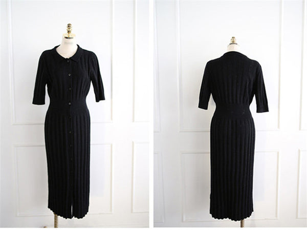 CM-DF072807 Women Casual Seoul Style Single-Breasted Knitting Long Dress - Black