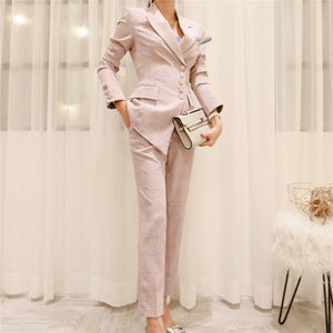 CM-SF072917 Women Elegant European Style Tailored Collar Stripes Business Suits - Set