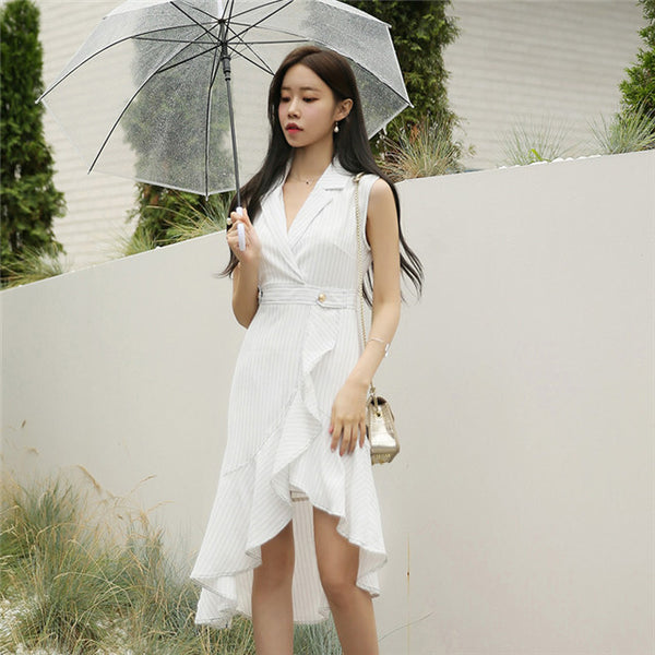 CM-EF073006 Women Casual European Style Tailored Collar Stripes Fishtail Dress - White