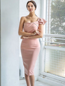 CM-DF073105 Women Seoul Style Sexy Bowknot Off Shoulder Skinny Tank Dress - Pink