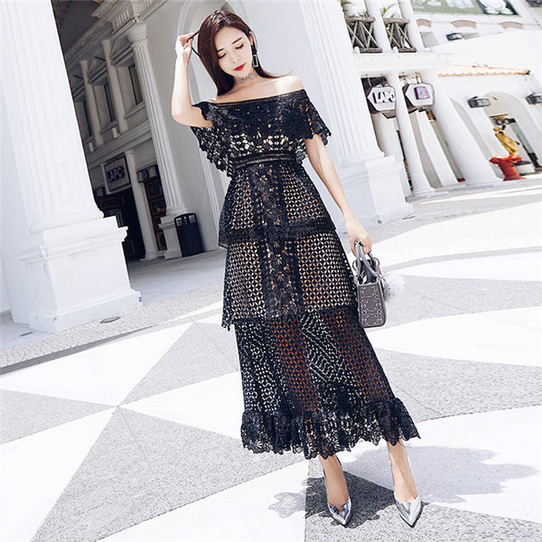 CM-EF073114 Women Elegant Retro Style Boat Neck Flouncing Hollow Out Lace Dress - Black