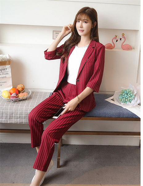 CM-SF080125 Women European Style Wine Red Tailored Collar Stripes Cropped Leisure Suits - Set