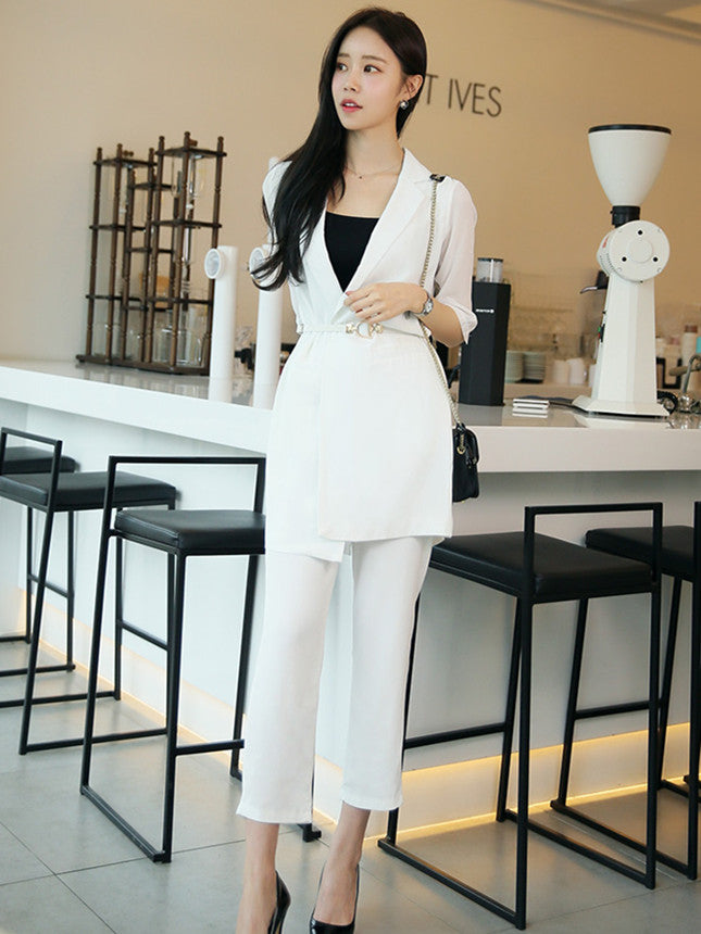 CM-SF080634 Women Elegant European Style White High Waist Tailored Collar Leisure Suits - Set