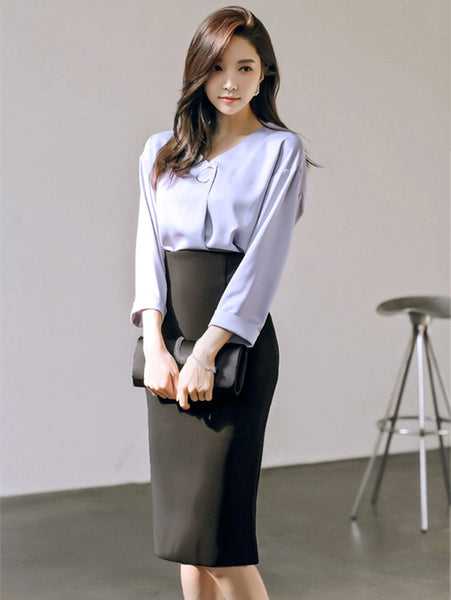 CM-SF080706 Women Elegant V-Neck Loosen Blouse With High Waist Midi Skirt - Set