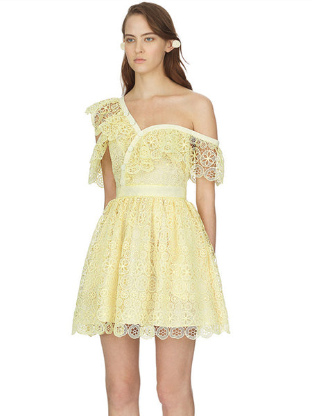 CM-EF080716 Women European Style Off Shoulder Flouncing Hollow Out Lace Dress - Yellow