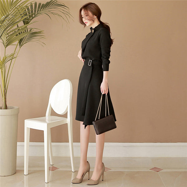 CM-DF080814 Women Elegant Seoul Style Stand Collar Fitted Waist Flouncing Dress - Black