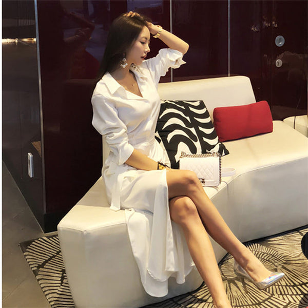 CM-DF080816 Women Casual Seoul Style Tie Waist Shirt Collar Puff Sleeve Long Dress - White