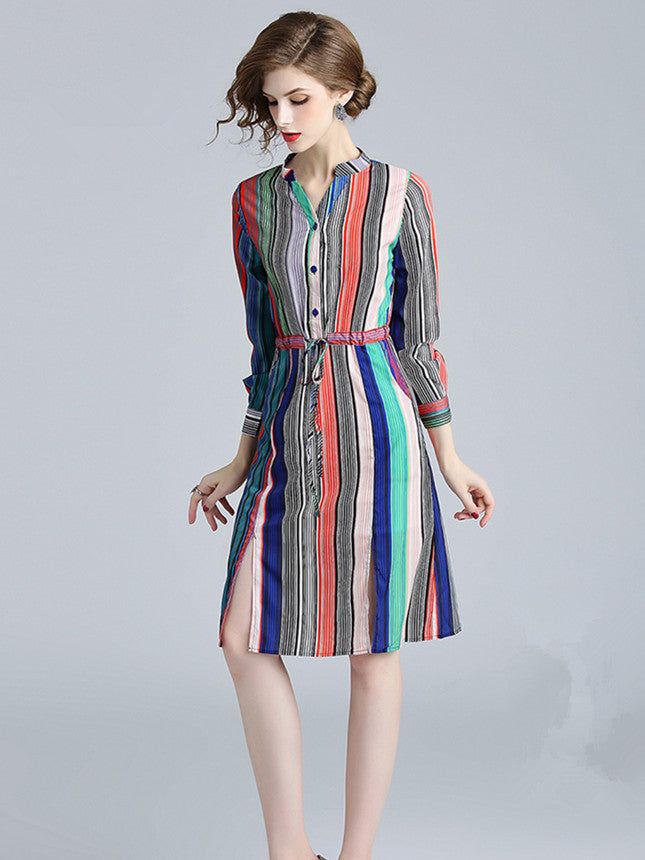 CM-DF081025 Women European Style Tie Waist V-Neck Stripes Long Sleeve Dress