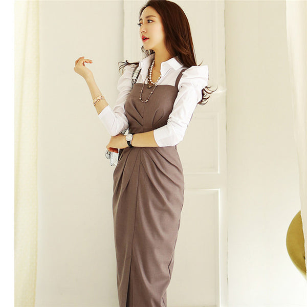 CM-SF081107 Women Casual Long Sleeve Blouse With High Waist Pleated Dress - Set