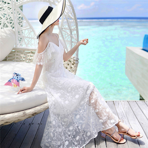 CM-EF081108 Women Summer Seoul Style Off Shoulder Lace Floral Straps Maxi Dress - White