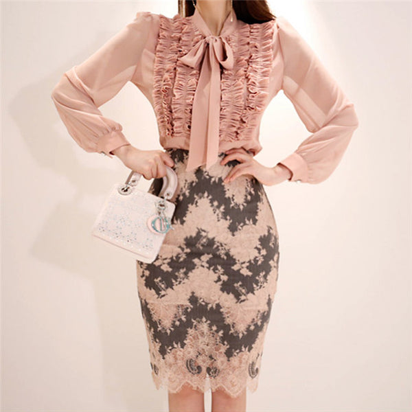 CM-SF081215 Women Elegant Charming Pleated Flouncing Blouse With Lace Slim Skirt - Set