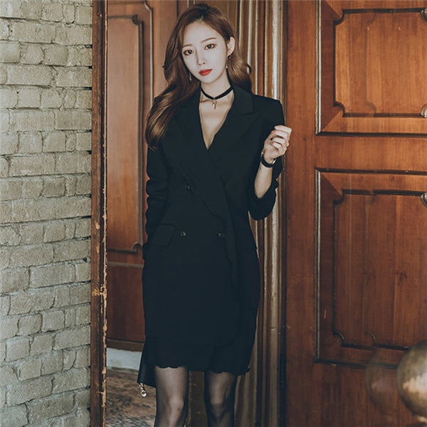 CM-DF081216 Women Elegant European Style Tailored Collar Fishtail Slim Dress - Black