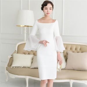 CM-EF081225 Women Charming Square Collar Organza Flare Sleeve Skinny Dress - White