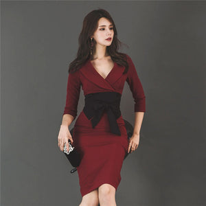 CM-DF081512 Women Seoul Style Tailored Collar Bowknot Waist Skinny Dress - Wine Red