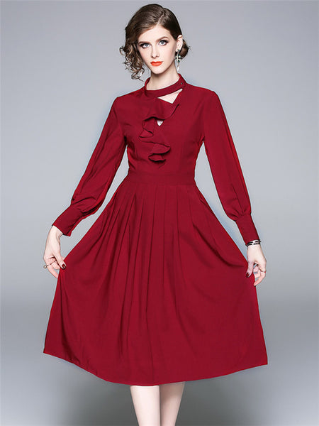 CM-DF081709 Women European Style Flouncing Collar Pleated A-Line Dress - Red