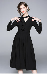 CM-DF081709 Women European Style Flouncing Collar Pleated A-Line Dress - Black