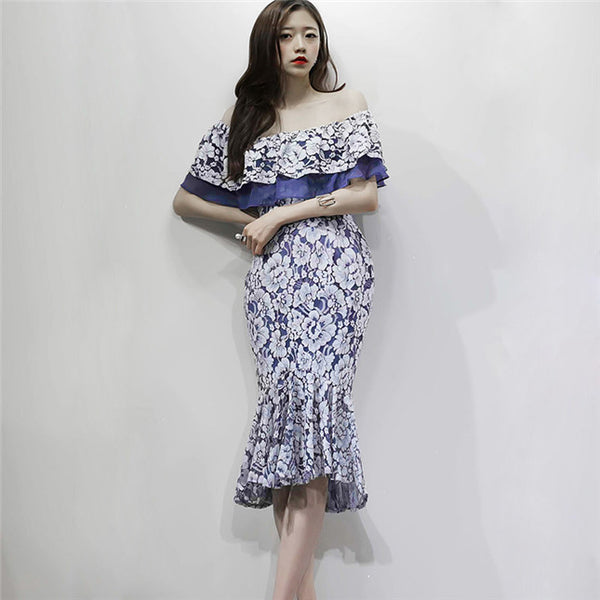 CM-DF081929 Women Elegant Seoul Style Flouncing Boat Neck Fishtail Lace Dress - Blue