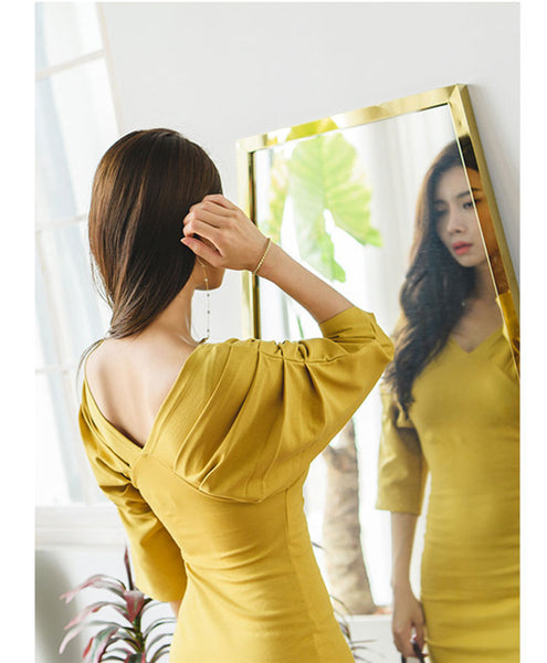 CM-DF082116 Women Elegant Fitted Waist Pleated Puff Sleeve Skinny Dress - Yellow