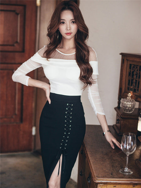 CM-SF082121 Women Stylish Sexy Hollow Out Blouse With Ties High Waist Skirt - Set