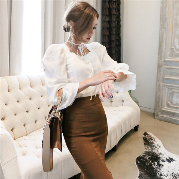 CM-SF082126 Women Charming Puff Sleeve Blouse With Fishtail Slim Long Skirt - Set