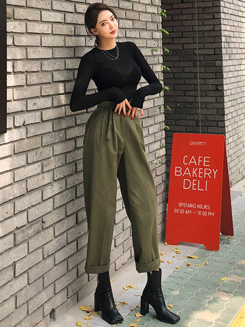 CM-SF082311 Women Casual Seoul Style Knitting Top With High Waist Long Pants - Set