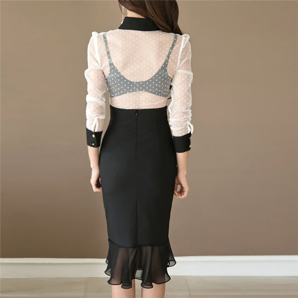 CM-SF082314 Women Modern Stylish Lace Gauze Blouse With Fishtail Skinny Skirt - Set