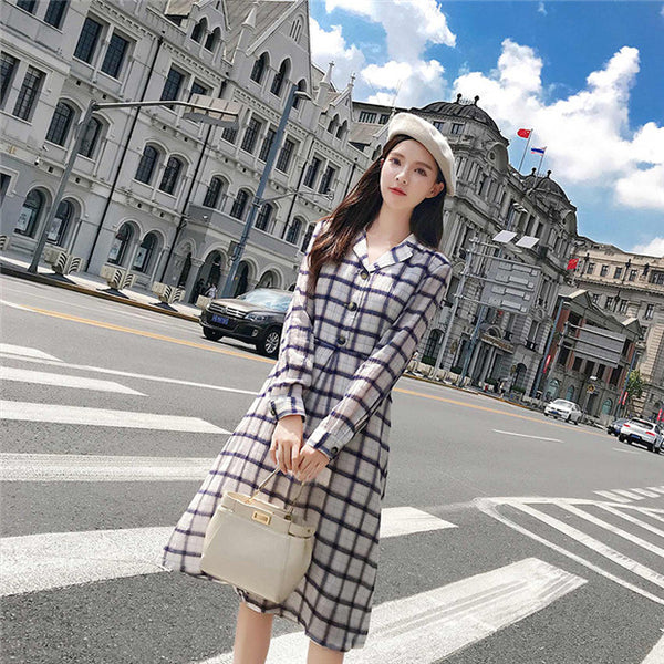 CM-DF082411 Women Casual Preppy Single-Breasted V-Neck Plaids A-Line Dress