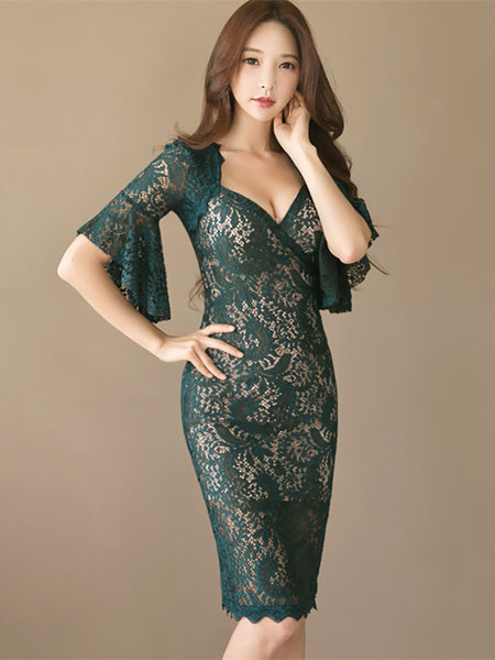 CM-DF082805 Women Charming V-Neck Flare Sleeve Bodycon Lace Dress - Dark Green