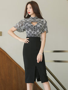 CM-SF082807 Women Casual Hollow Out Lace Blouse With High Waist Midi Skirt - Set
