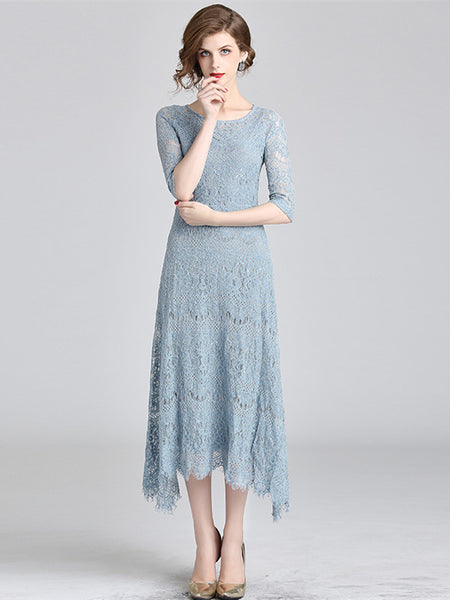 CM-DF082825 Women Charming European Style Round Neck Slim Flouncing Lace Dress