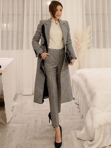 CM-SF082913 Women High Quality Tailored Collar Long Coat With Houndstooth Skinny Pants - Set