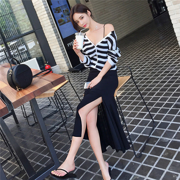 CM-SF090322 Women Casual Seoul Style Stripes V-Neck Top With Fishtail Long Skirt - Set