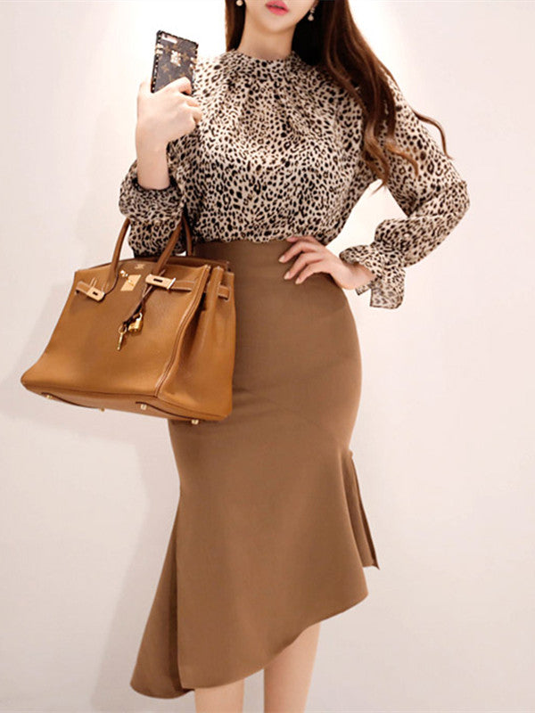 CM-SF090618 Women Casual Seoul Style Leopard Blouse With Fishtail Slim Skirt - Set