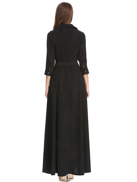 CM-EF090912 Women Retro European Style Single-Breasted Corduroy Shirt Maxi Dress - Black