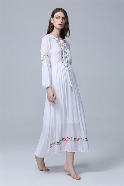 CM-EF091011 Women Casual High Quality Elastic Waist Floral Embroidery Long Dress - White