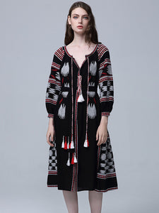CM-EF091013 Women European Classic Style V-Neck Tassels Embroidery Dress - Black