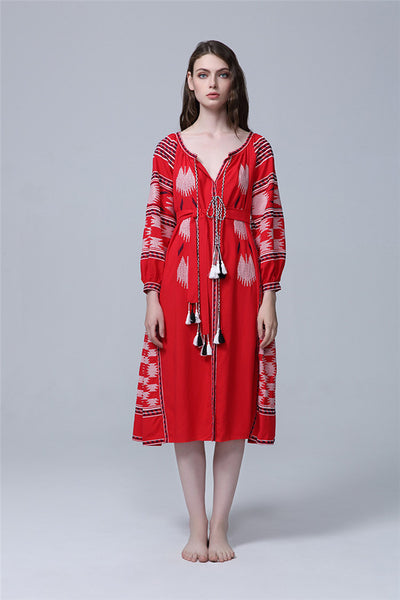 CM-EF091013 Women European Classic Style V-Neck Tassels Embroidery Dress - Red