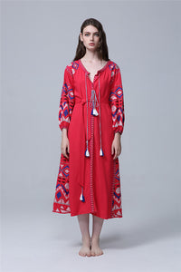 CM-EF091016 Women European Classic Style Embroidery Loosen Long Dress - Red