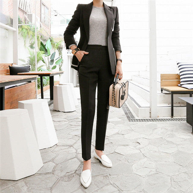 CM-SF091109 Women Elegant European Style Black Tailored Collar Slim Leisure Suits - Set