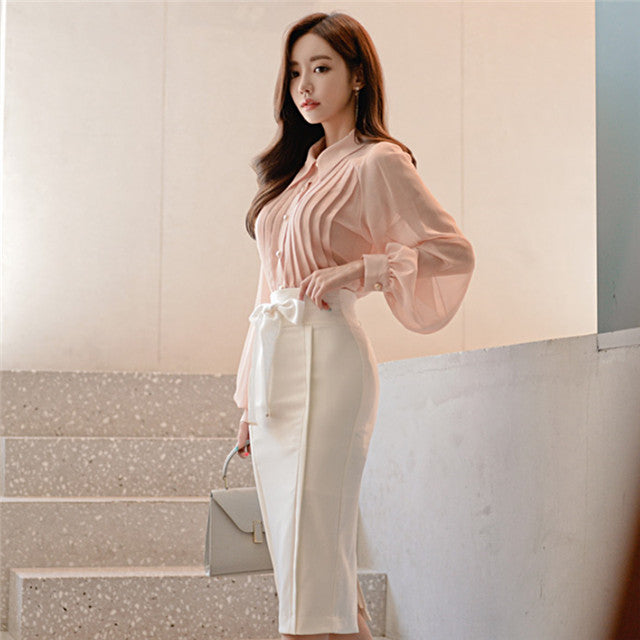 CM-SF091114 Women Elegant Puff Sleeve Blouse With Bowknot Waist Midi Skirt - Set